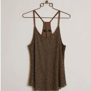 NEW Embellished Tank Top BKE BOUTIQUE Brown Small